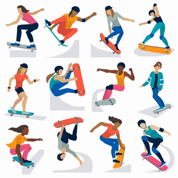 bildbanksillustrationer, clip art samt tecknat material och ikoner med unga skateboardåkare aktiva flickor sport extrem aktiv skateboard hoppa tricks vektorillustration - skatepark