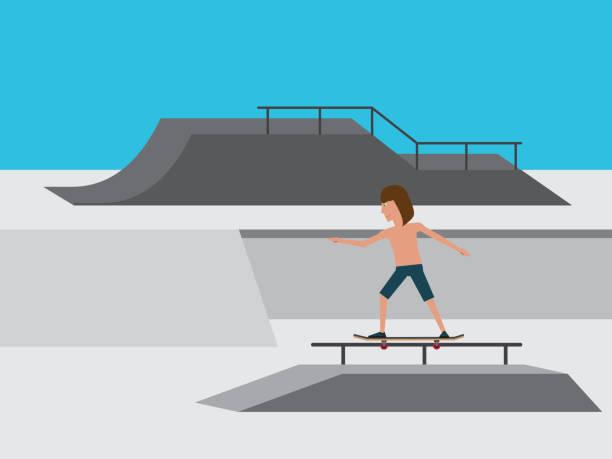 bildbanksillustrationer, clip art samt tecknat material och ikoner med ung skejtare glider över ett räcke på en skateboard i en skateboardpark. - skatepark