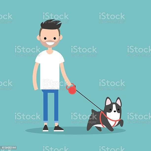 Young smiling bearded man walking the dog vector id619400144?b=1&k=6&m=619400144&s=612x612&h=s5oqyp38mrs0hl1ii4plei5zl8uczotnbobcvk1qrvu=