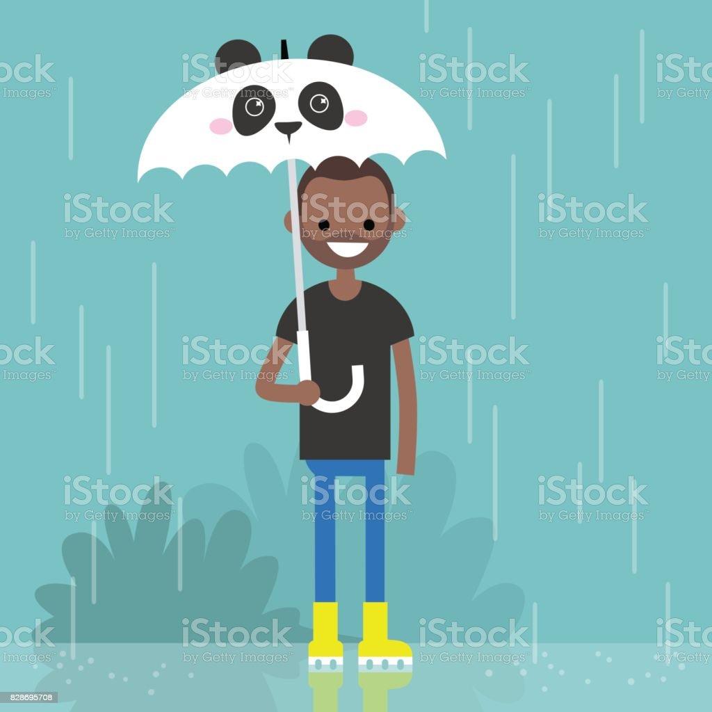 Young smiling black character holding an umbrella with panda muzzle / flat editable vector illustration, clip art vector art illustration