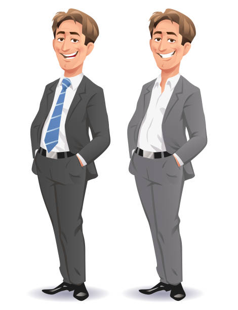Young Smiling Businessman Vector illustration of a young, relaxed businessman wearing a gray suit and a blue tie, standing with his hands in his pockets, smiling at the camera. suit stock illustrations