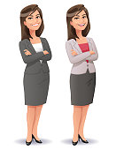 Vector illustration of a young confident businesswoman with long dark hair, wearing a skirt and a blazer, standing with her arms crossed smiling at the camera, isolated on white.