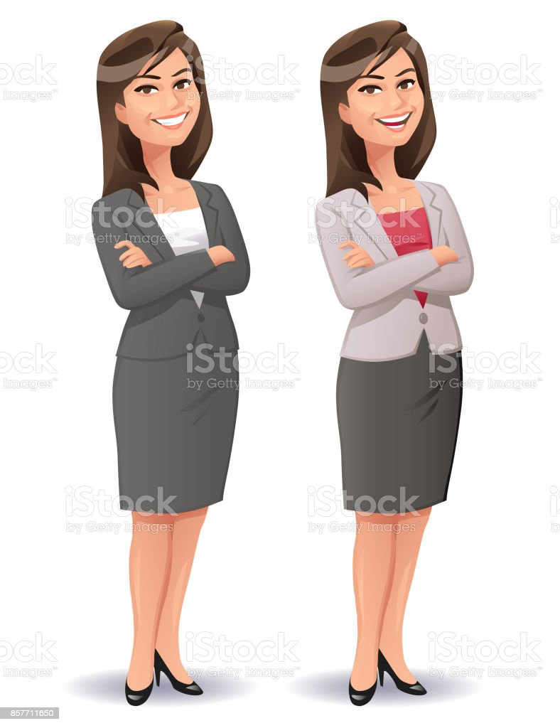 Young Smiling Businesswoman vector art illustration