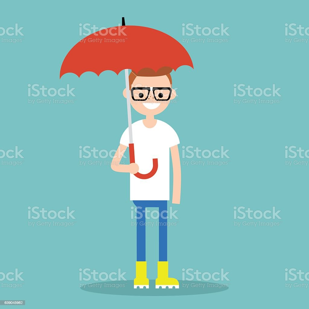 Young smiling character with umbrella wearing yellow rubber boots vector art illustration