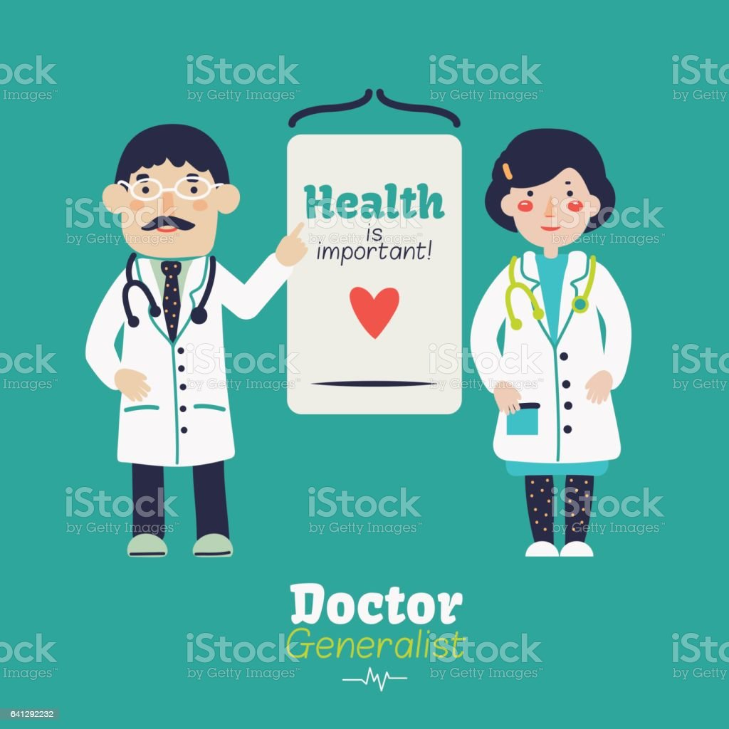 Young, smiling female and male doctor with stethoscope and whiteboard vector art illustration