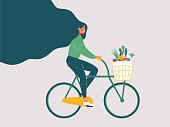 Young smiling girl with long hair riding bicycle with fresh vegetables in front basket. Concept of Green lifestyle, Zero waste, vegetarianism, environment preservation. Flat vector illustration.