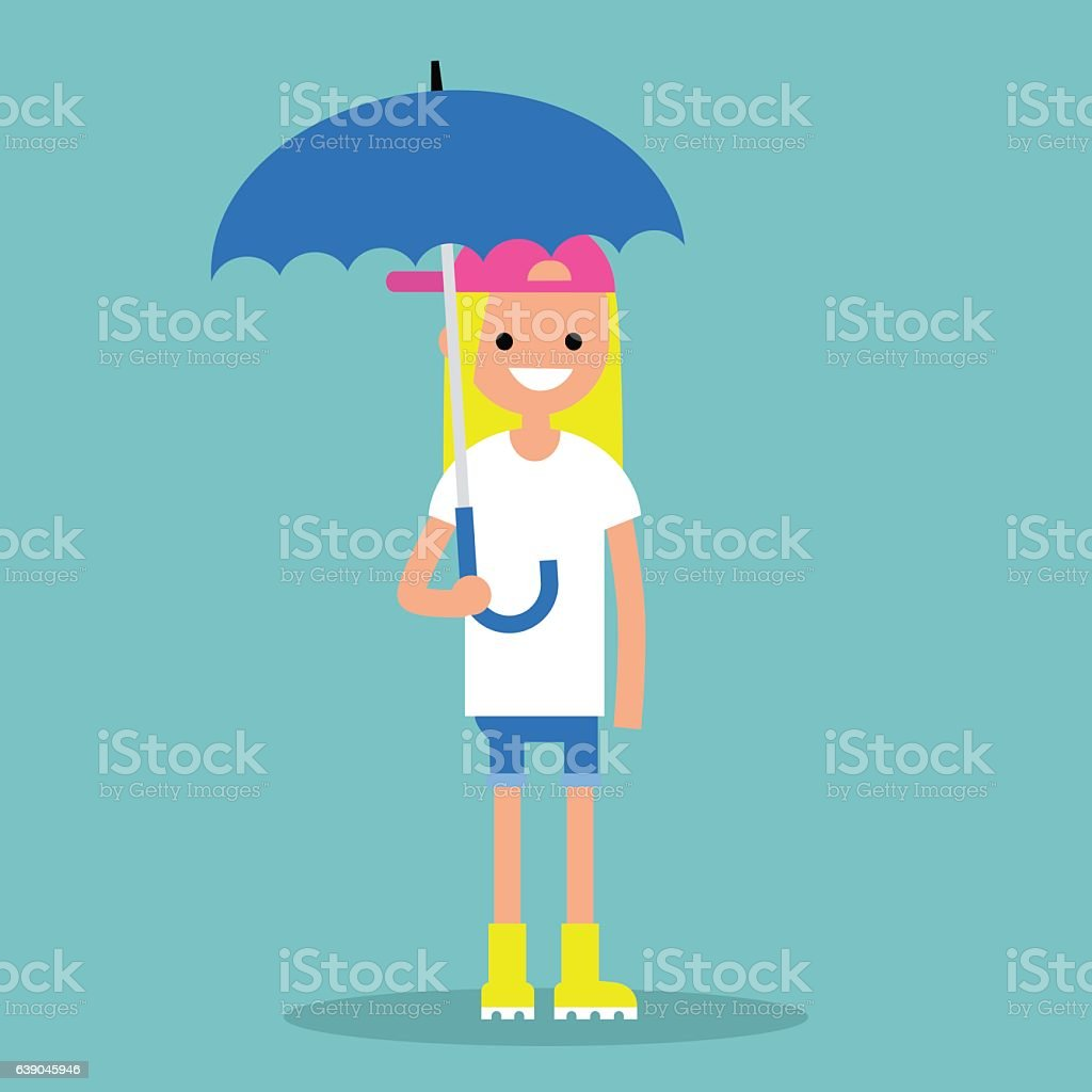 Young smiling girl with umbrella wearing yellow rubber boots vector art illustration