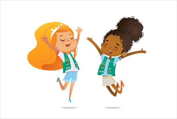 stockillustraties, clipart, cartoons en iconen met lachende meisjes scout gekleed in uniform met badges en patches springen gelukkig geïsoleerde op witte achtergrond. vrouwelijke scouter, lid van de troep, spreker. - curly brown hair