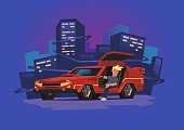 Young smiling guy sitting in futuristic race car on neon city background. Cyberpunk fantasy. Flat vector illustration, horizontal.