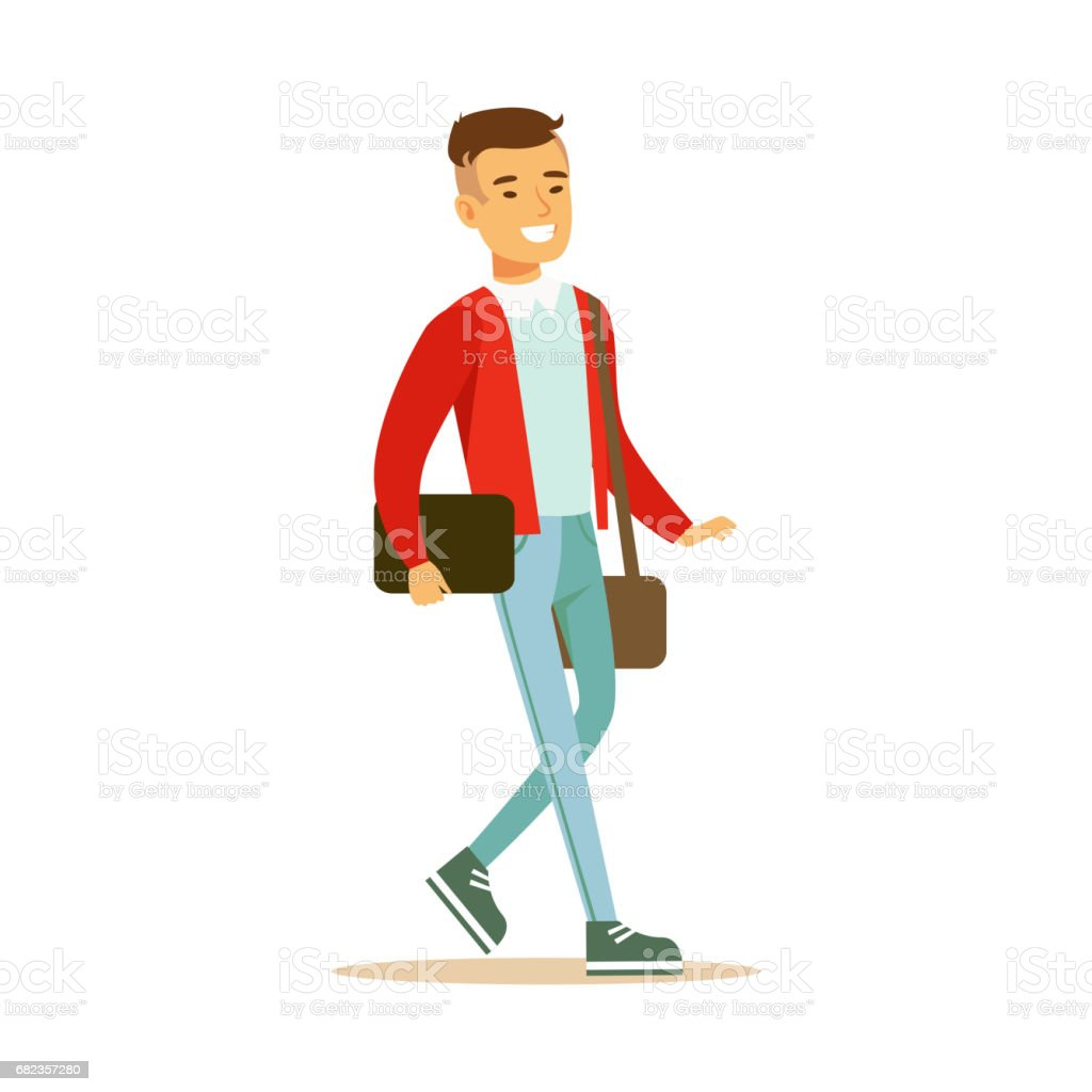 Young smiling man in a red jacket walking and holding a bag and a gadget in his hands. Student lifestyle colorful character vector Illustration royalty free young smiling man in a red jacket walking and holding a bag and a gadget in his hands student lifestyle colorful character vector illustration stockvectorkunst en meer beelden van cartoon