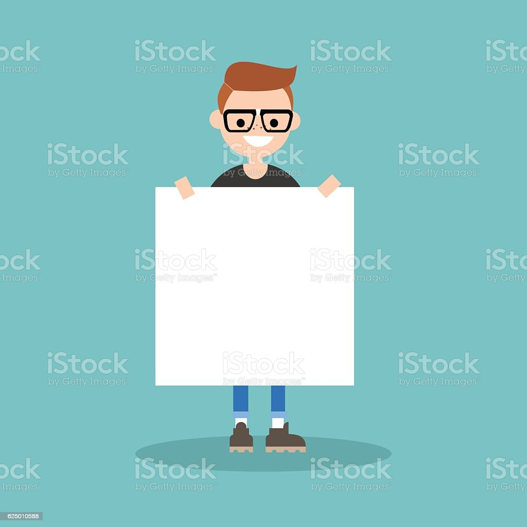 Young smiling nerd holding a blank board mock up vector art illustration