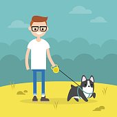 Young smiling nerd walking the dog / flat editable vector illustration