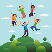 Young, smiling people jumping over green landscape