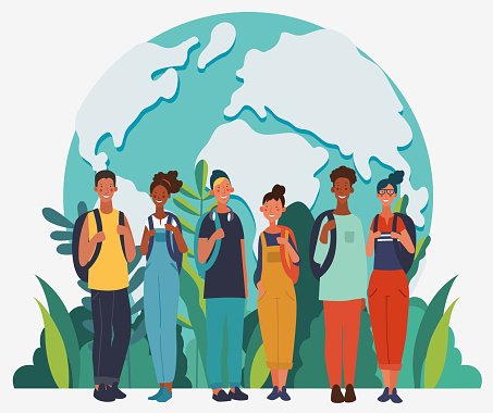 Young, smiling people with backpacks. Travel, vacation, holidays and adventure vector concept illustration. World map background. Eco friendly ecology concept. Nature conservation vector poster