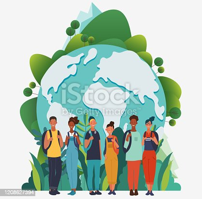 istock Young, smiling people with backpacks. Travel, vacation, holidays and adventure vector concept illustration. World map background. Eco friendly ecology concept. Nature conservation vector poster 1208627394
