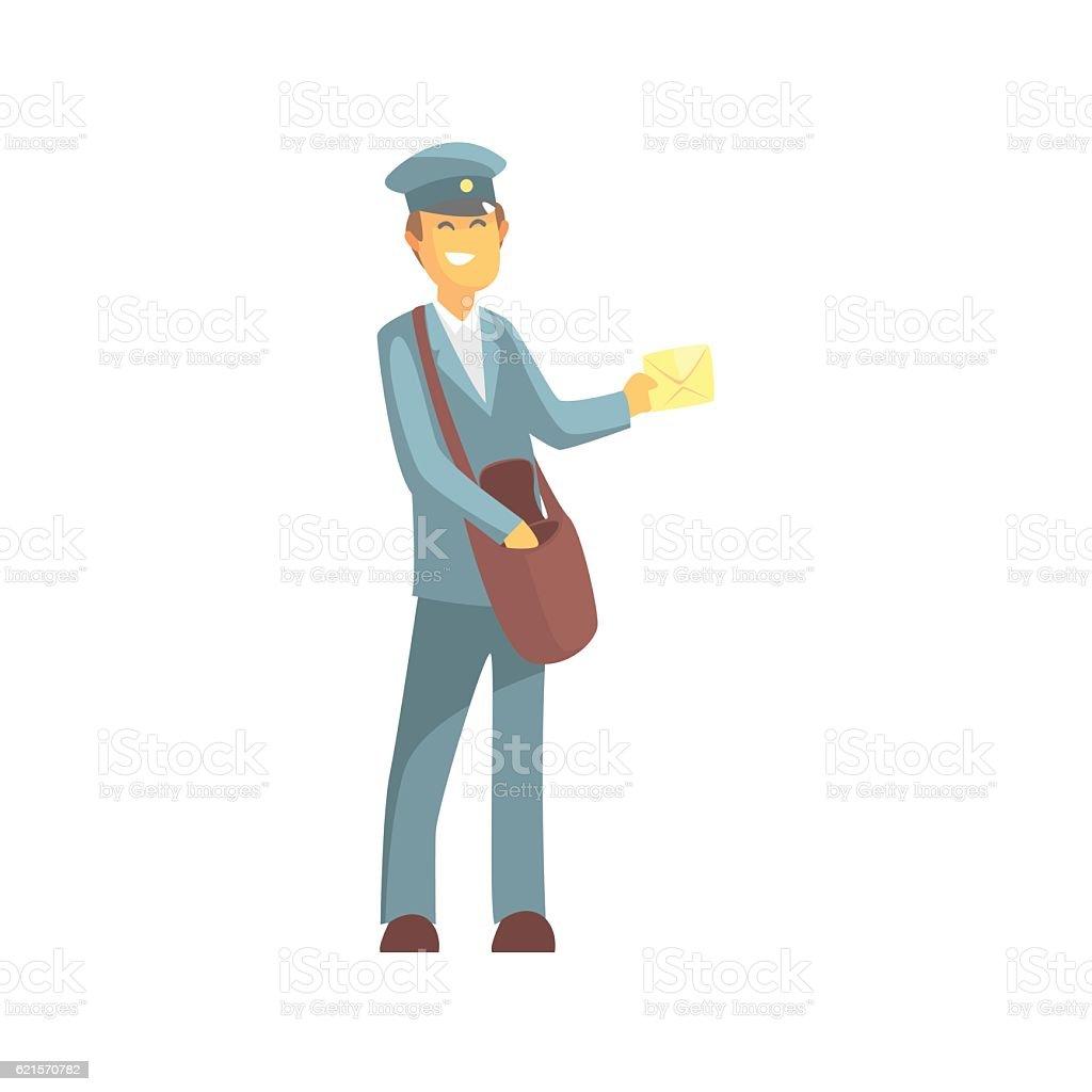 Young Smiling Postman In Uniform young smiling postman in uniform – cliparts vectoriels et plus d'images de adulte libre de droits