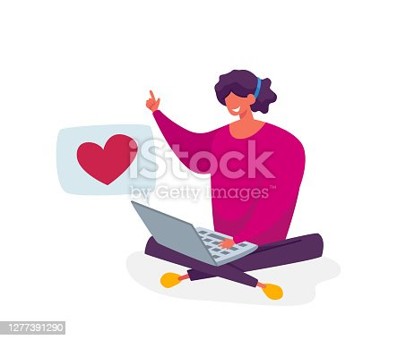 istock Young Smiling Woman Character Sitting on Floor with Laptop Communicating, Give Like in Internet Social Media Networks 1277391290