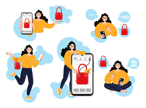 Young smiling woman chooses a bag in an online store. Girl calls support, reads the faq and guides. Woman showing like and ok. Vector characteres in cartoon style. Isolated on white, flat illustration.