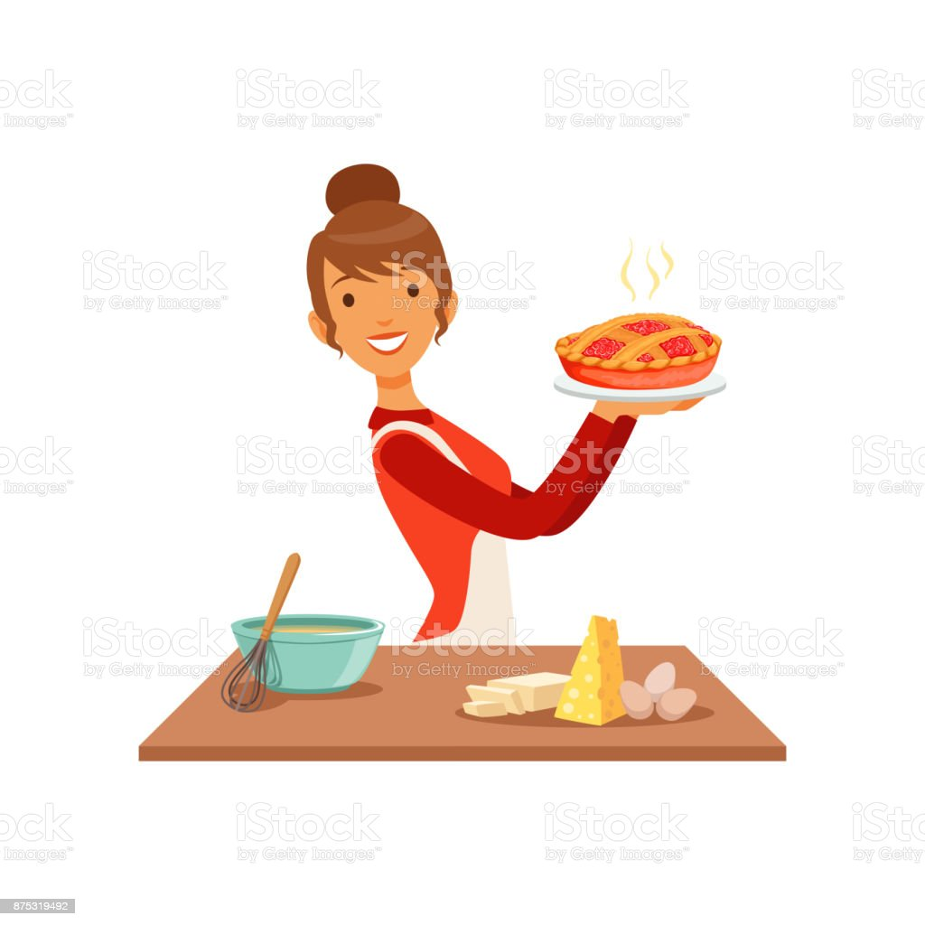 Young smiling woman holding freshly baked pie, housewife girl cooking food in the kitchen flat vector Illustration vector art illustration