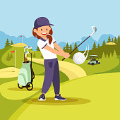 Young Smiling Woman in Sport Uniform Playing Golf.