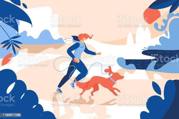 Young smiling woman jogging with readhead dog exterior scene with vector id1163917266?b=1&k=6&m=1163917266&s=612x612&h=o9de5 by buubm 8gy71fh1pbqkcjtkq7eku7v8mhr0=