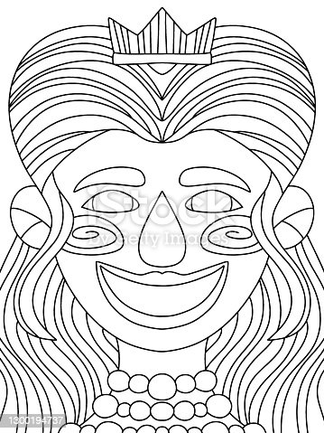 Young smiling woman with long hair, diadem and pearls necklace vector. Festival Mardi Gras queen black outline isolated on white. Fairy tale character symmetry coloring page for kids. One of a series