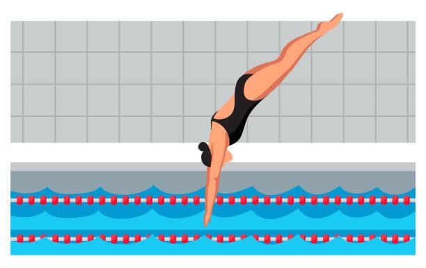 ilustrações de stock, clip art, desenhos animados e ícones de young sportswoman in swimsuit jumping in pool - jump pool, swimmer