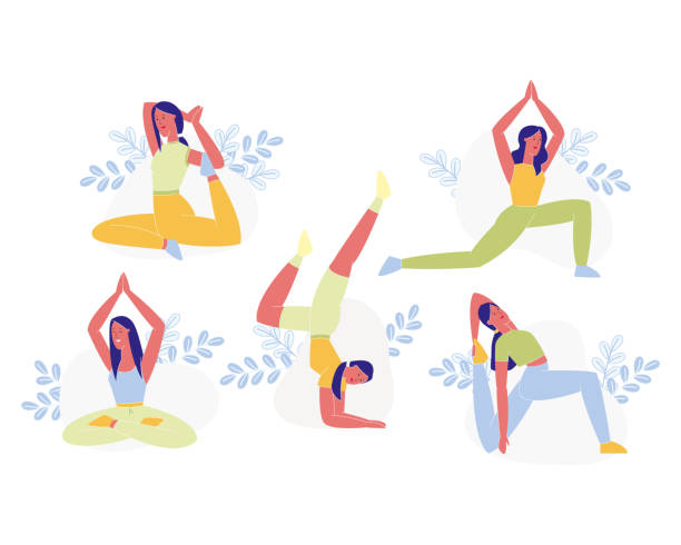 Young Sporty Woman Doing Yoga or Pilates Exercises Young Woman Doing Yoga or Pilates Exercises Set Isolated on White Background. Female Character in Various Poses. Flexible Body, Healthy Lifestile, Stretching Girl. Cartoon Flat Vector Illustration yoga stock illustrations