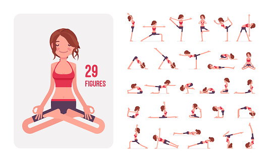 Young sporty yogi woman practicing yoga character set, pose sequences