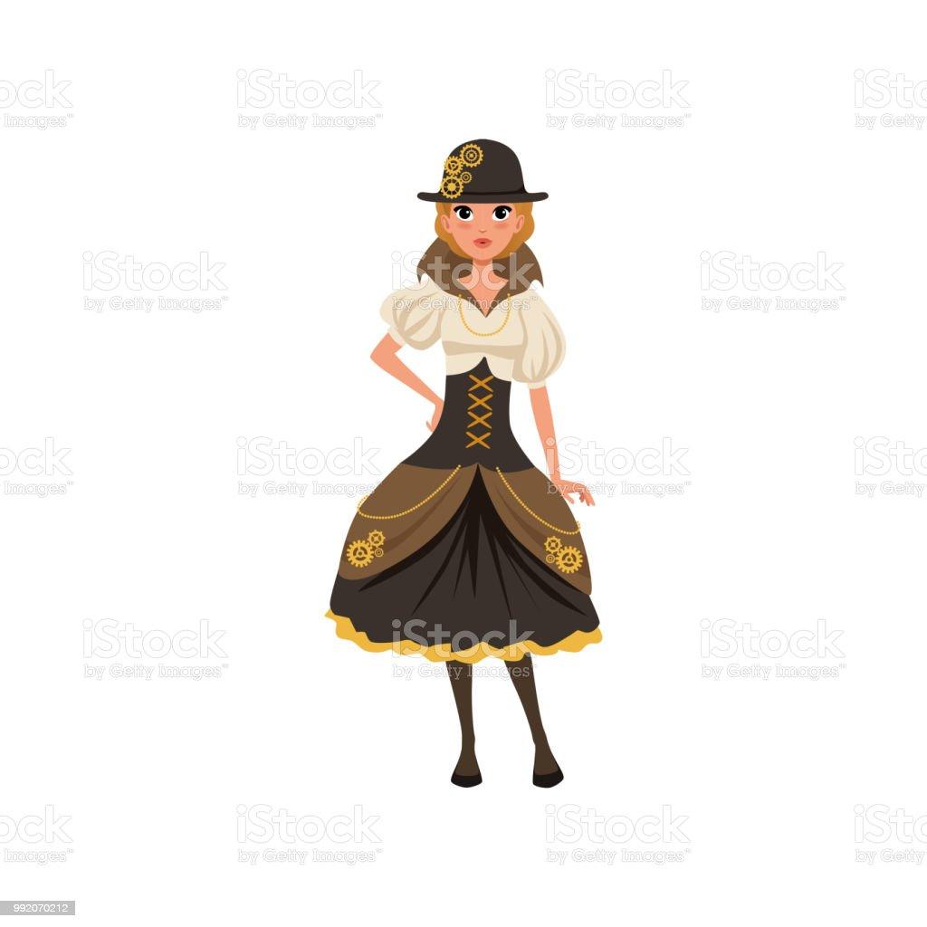 Ilustración de Chica Joven Steampunk Mujer En Blusa Corsé Falda Con ... d48aa341dcbc6