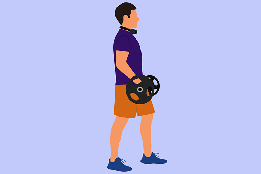 Young Strong Man Holding Barbell And Having Strength Exercise