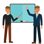 young student and professor standing with a pointer cartoon flat illustration concept on isolated vector white background