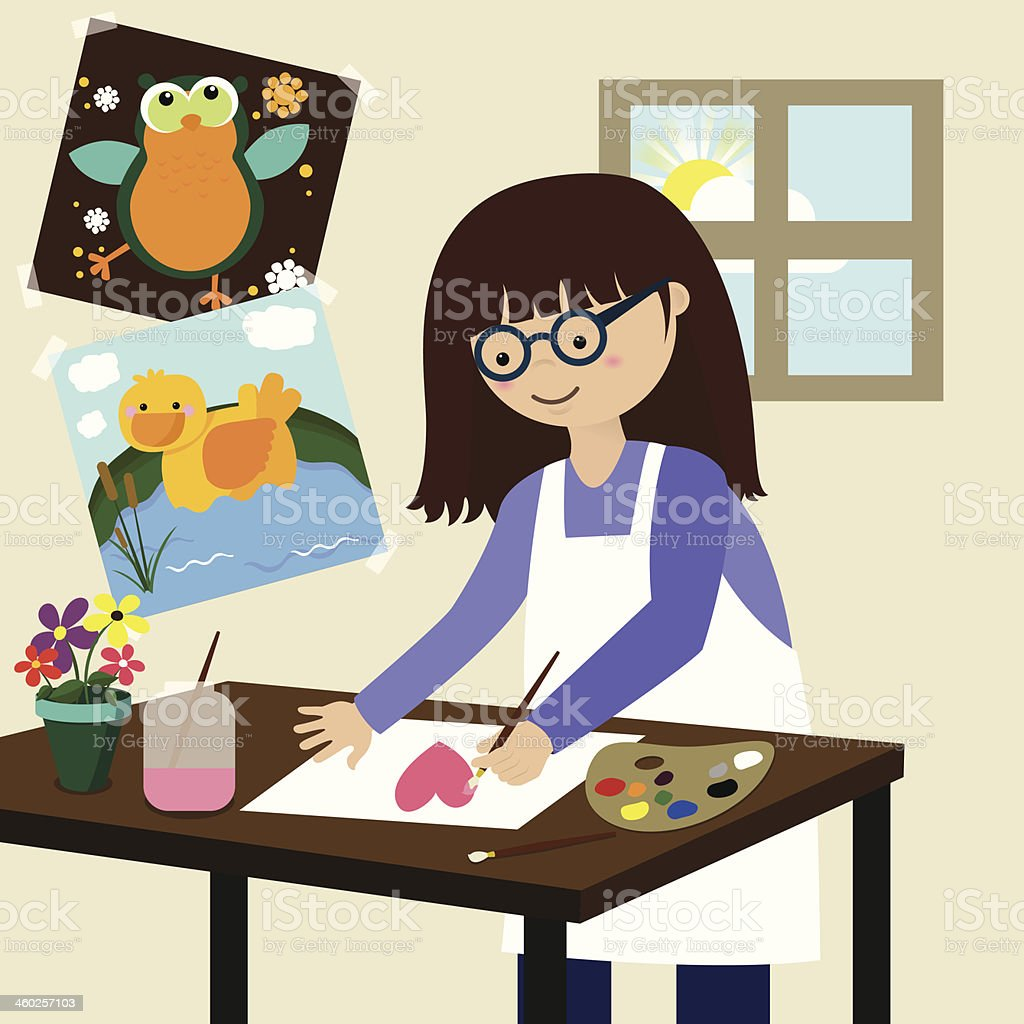 Young Student Artist Painter in Art Class vector art illustration