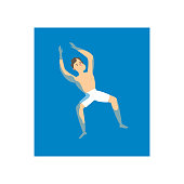 Young student man swimming at his back in water sea, summer time. Flat style. Vector illustration on white background