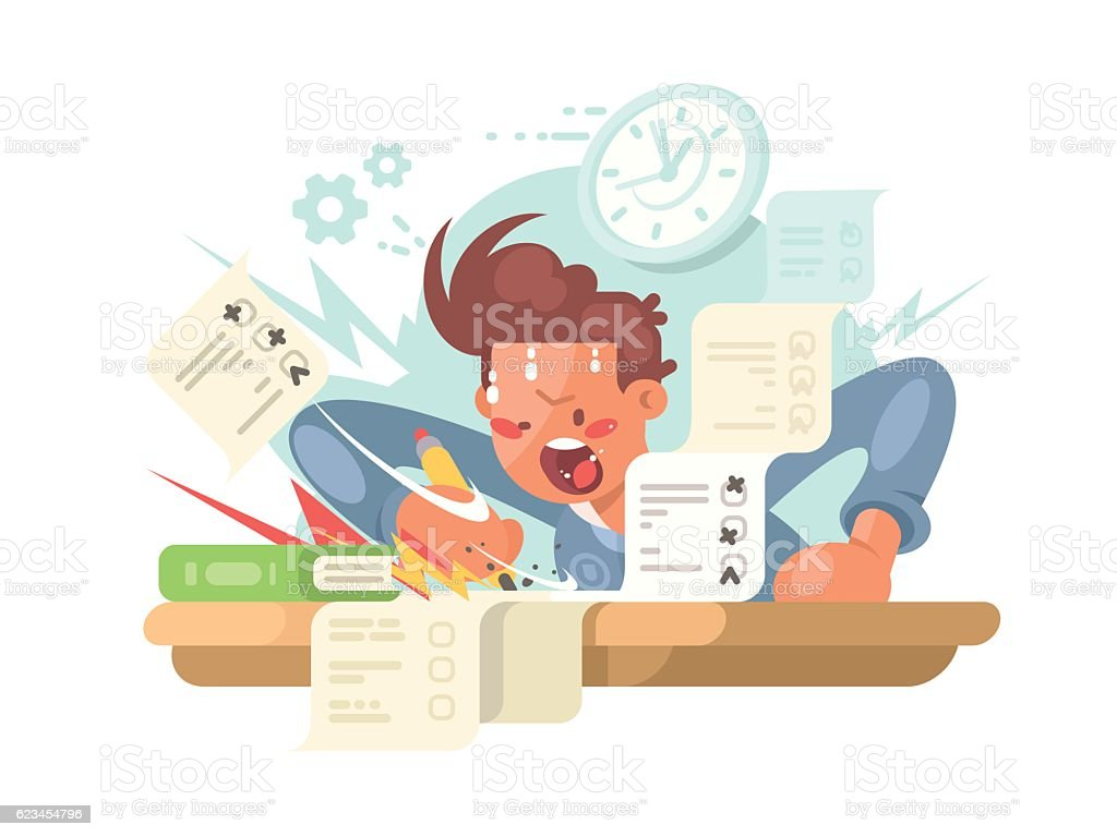 Young student on exam vector art illustration