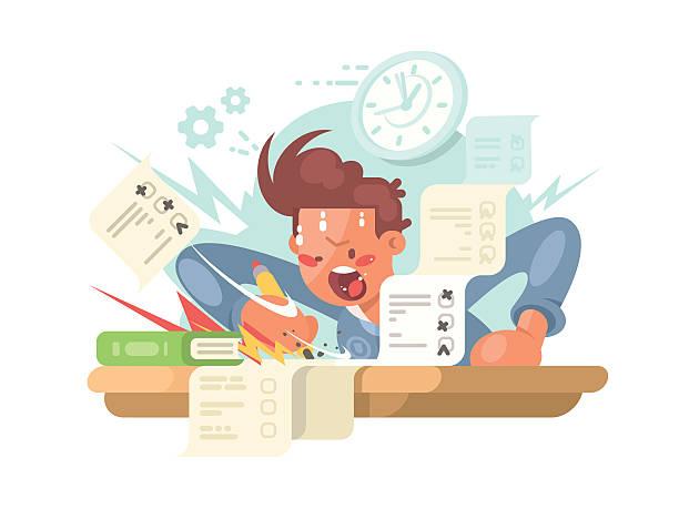 ilustrações, clipart, desenhos animados e ícones de young student on exam - aula de redação