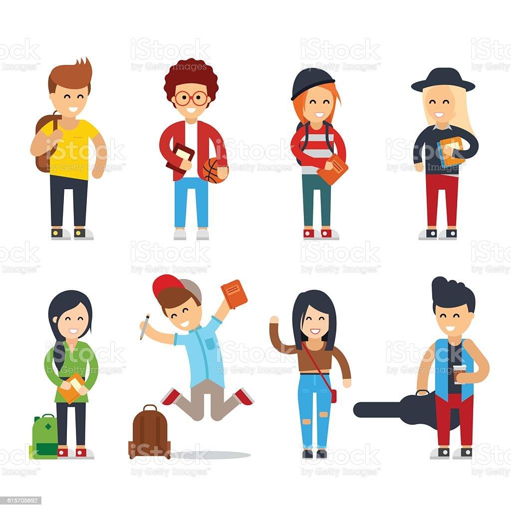 young students cartoon characters stock vector art 615705892 istock