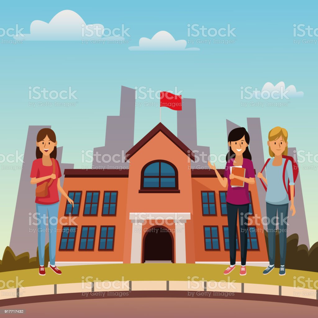 Ilustración de Jóvenes Estudiantes En El Edificio De La Escuela ...