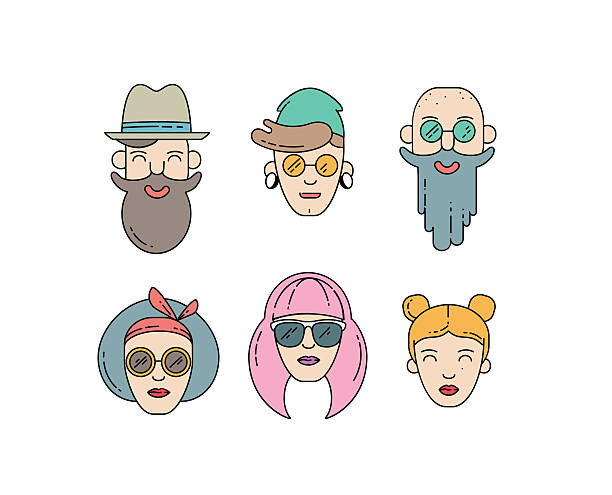 ilustrações, clipart, desenhos animados e ícones de young stylish people linear vector illustration - moda urbana