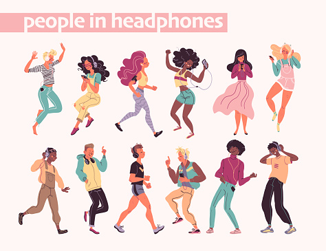 Young stylish people listening to music in headphones and earphones isolated. Multiethnic group.