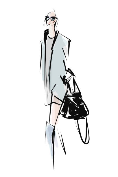 Young stylish woman, beautiful girl. Hand drawn fashion illustration Sketch, vector fashion stock illustrations