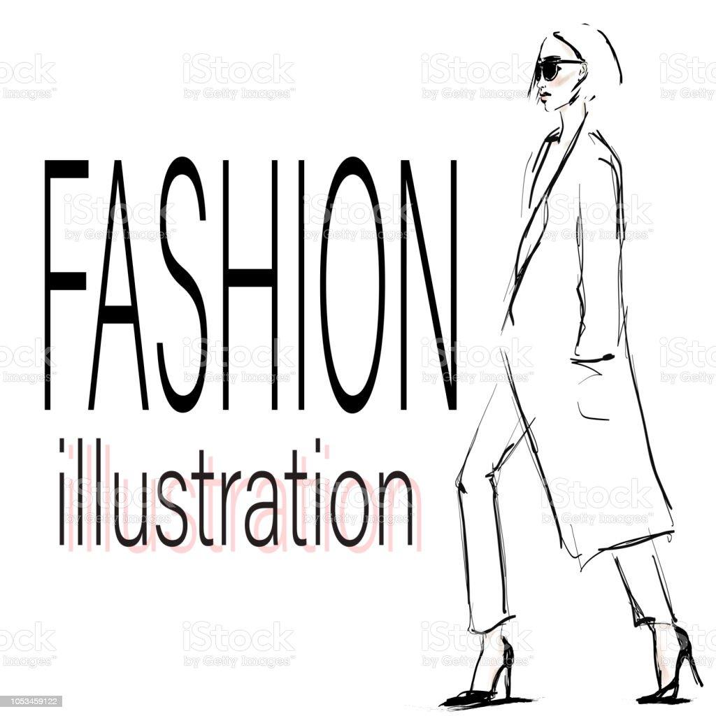 コートでスタイリッシュな若い女性。サングラスを持つ美しい少女。手描きファッション イラスト ベクターアートイラスト