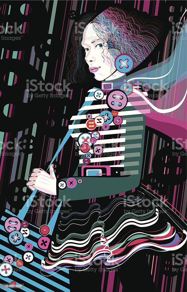 Young stylish woman wearing handmade clothes with buttons royalty-free stock vector art