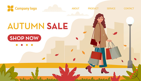 Young, stylishly dressed woman with shopping bags, walking on autumn background. Autumn Sale banner, template for landing page. Vector illustration in flat style
