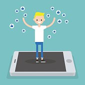Young successful boy standing on mobile screen and raising his hands surrounded by like symbols  / flat editable vector illustration