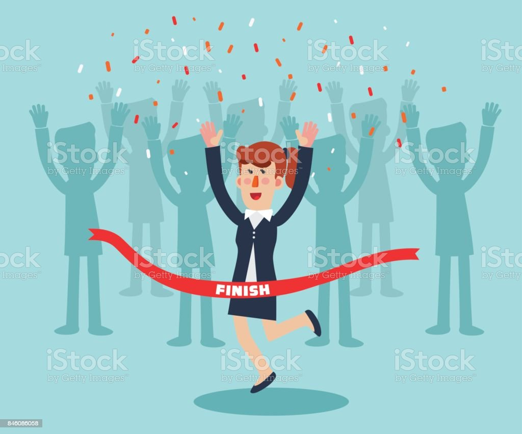 Young, successful business woman celebrating victory. Happy, jumping woman crossing the finishing line vector art illustration