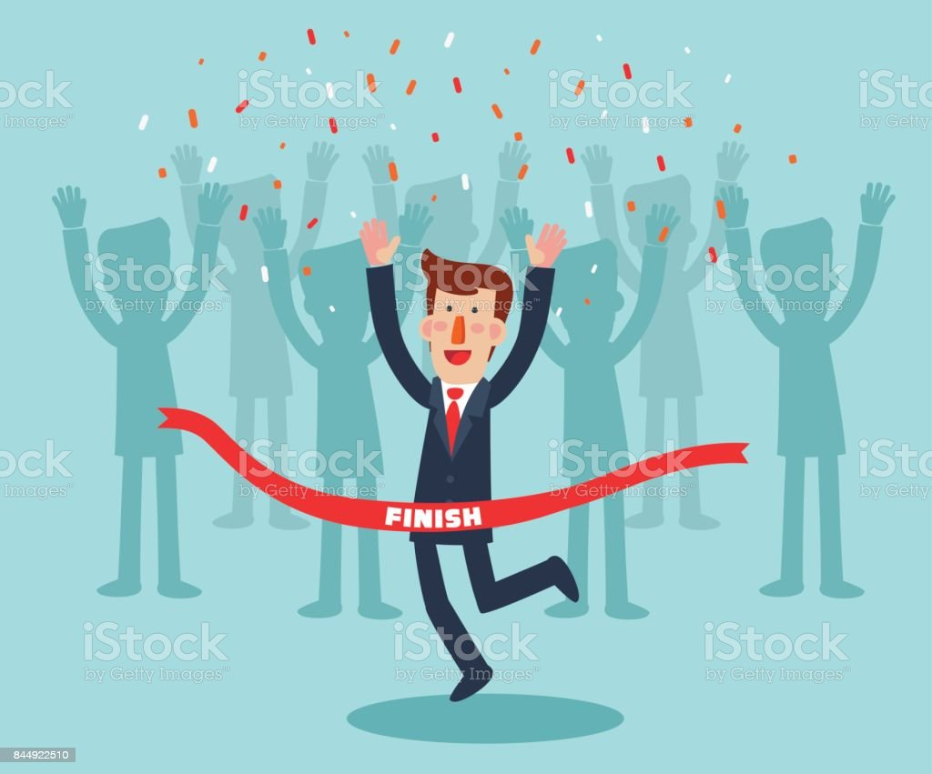 Young, successful businessman celebrating victory. Happy, jumping man crossing the finishing line vector art illustration