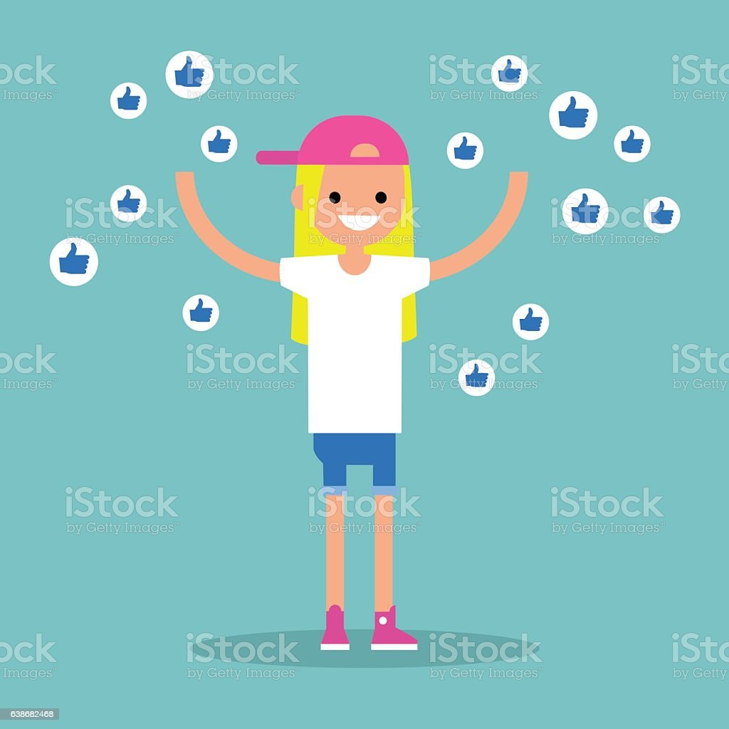 Young successful girl surrounded by like symbols vector art illustration