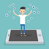 Young successful man standing on mobile screen and raising his hands surrounded by like symbols  / flat editable vector illustration