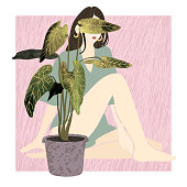 Vector colorful illustration of young summer woman sitting behind a potted house plant. Use it as element for design greeting card, poster, banner, Social Media post, invitation, graphic design